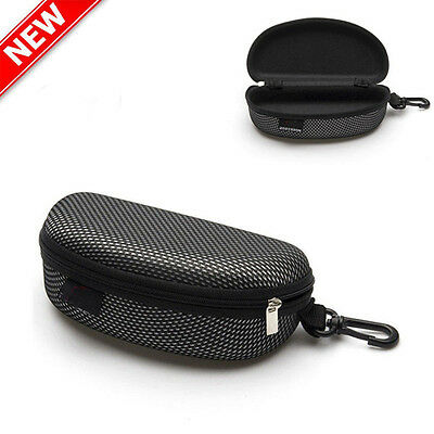 Portable Zipper Eye Glasses Sunglasses Clam Shell Hard Case Protector Box Black