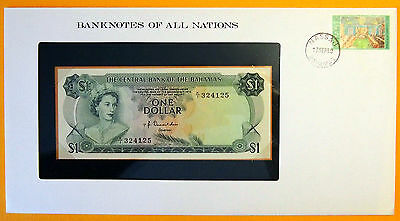 Bahamas - 1974 - $1 Uncirculated Banknote enclosed in stamped envelope.