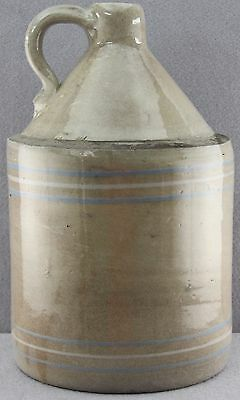 """Antique One Gallon Stoneware Glazed Jug / Crock With Blue And White Bands 12"""""""
