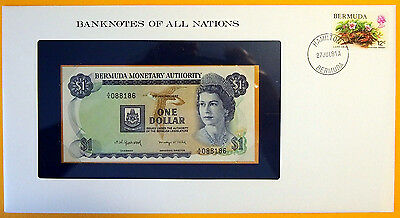 Bermuda - 1982 - $1 - Uncirculated Banknote enclosed in stamped envelope.