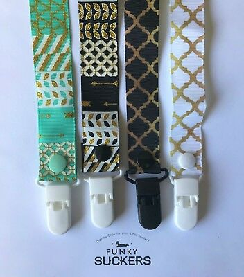 GOLD / MINT / AZTEC /  / Dummy Clip / Dummy Clips / Pacifier Clips / Chain
