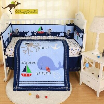 Baby Boys 8 Pieces Reversible Jungle Animals Cotton Nursery Bedding Crib Cot Set