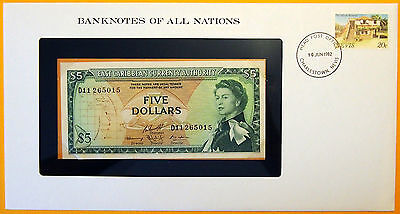 East Caribbean States 1965 - $5 Uncirc. Banknote enclosed in stamped envelope.