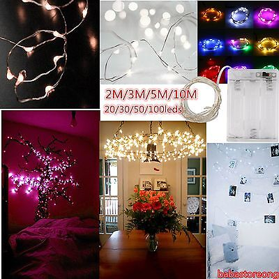 2/3/5/10M 3AA Battery Silver Wire Festival Party Home Deco String Fairy Light GT