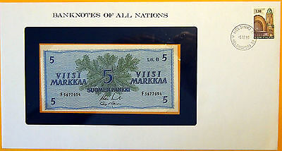 Finland 1963 - 5 Markka - Uncirculated Banknote enclosed in stamped envelope.
