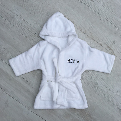 Personalised Baby Hooded Bath Robe, Dressing Gown, Embroidered Unisex Xmas Gift