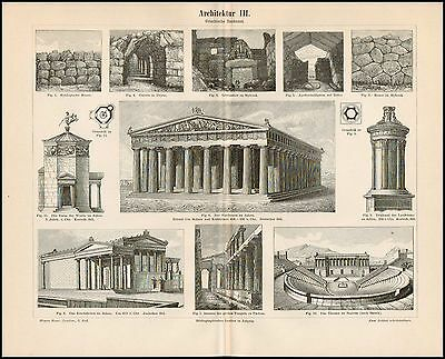 Stich Architektur III Parthenon Athen Theater Segesta Erechtheion 1895 Original
