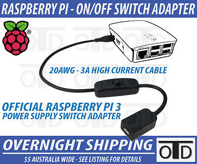 Raspberry Pi 3 RetroPi OFFICIAL Power Supply ON|OFF Switch Cable Adapter 20AWG