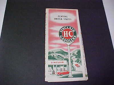 1950's CENTRAL UNITED STATES Road Map Sinclair Oil Company