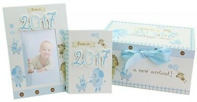 JVL Baby Boys Born In 2017 Keepsake Gift Box Including Photo Frame And Album -