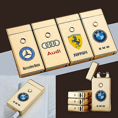 Car Logo Rechargeable Electric LIGHTER Double ARC PULSE Flameless Plasma Torch