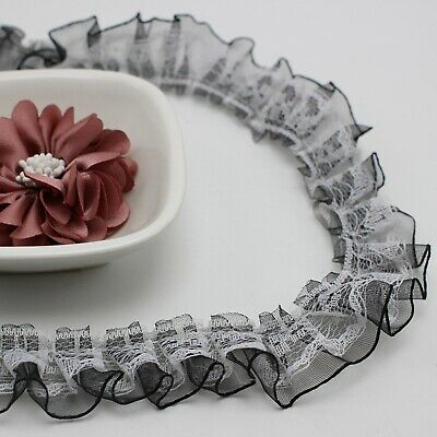 5 Meters Black&White Double Layer Ruffle Unilateral Lace Tulle Ribbon Trim 25mm
