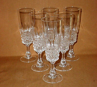 "Cristal D'Arques Durand Pompadour Lead Crystal Fluted Champagne Stem 7"" Lot of 6"
