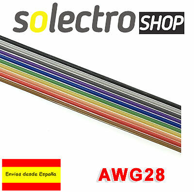 CABLE Plano 1m AWG28 1,27 10 pines colores protoboard Flat Ribbon Cable K0003