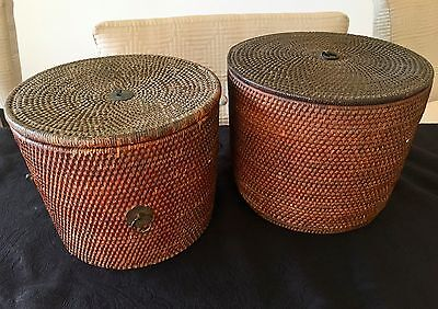 Antique Chinese Woven Basket with Lid