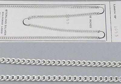 "925 Sterling Silver 18"" CURB Link 3mm Wide CHAIN New Old Store Stock ~NOT PLATED"
