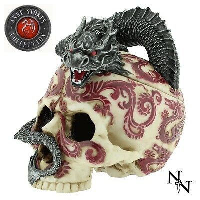 New Anne Stokes Oriental Skull With Dragon Jewellery Trinket Box Gothic Tattoo