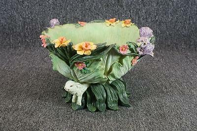 Footed Cabbage/Lettuce Bowl With Rabbits And Flowers Design