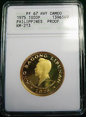 1975 1000 Piso Philippines Proof Gold Marcos Coin ANACS PF 67 Heavy CAMEO KM-213