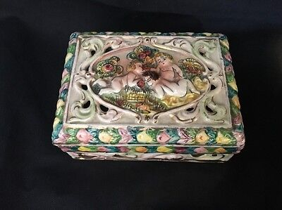 Beautiful Vintage Hand Painted Capodimonte Covered Box