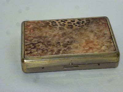 Vintage Business Card Case Brushed Metal with Reptile Print
