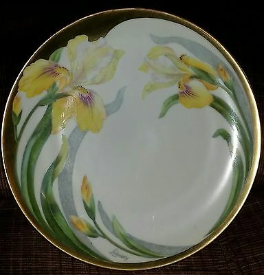 Antique Pt Bavaria Hand Painted Artist Signed Cabinet Display Plate With Gold