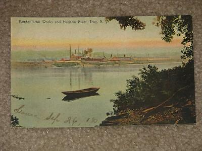 Burden Iron Works & Hudson River, Troy, N.Y., used vintage card
