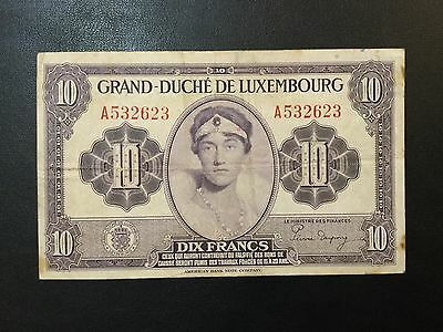 1944 Luxembourg Paper Money - 10 Francs Banknote !