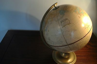 "Vintage Crams Imperial 12""  World Globe On Metal Stand"