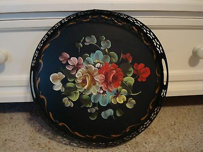 Vintage Hand Painted Floral Toleware Butlers Serving Tray Handles 14 x 14""