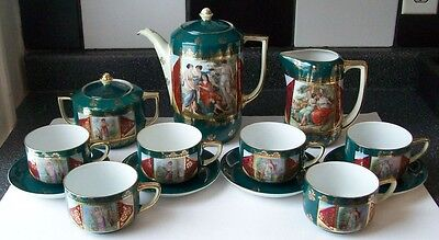 Schmidt & Co VICTORIA Porcelain 15-pc PORTRAIT TEA SET Dark Green,Red,Gold Gilt