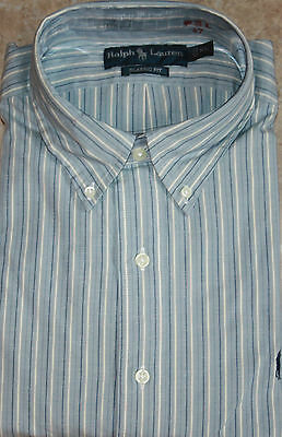 NWT Polo Ralph Classic Fit Blue White Striped with Pony Dress Shirt S Small