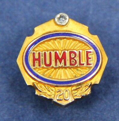 Vintage HUMBLE OIL 10K & Diamond 20 Year Screw Back Service Pin