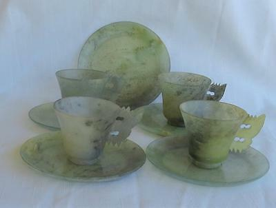 Vintage/antique Chinese Carved Jade - 4 Cups And 5 Saucers