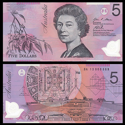 Australia 5 Dollars, 2013 Crisp Uncirculated Bank Note Polymer  FREE SHIPPING