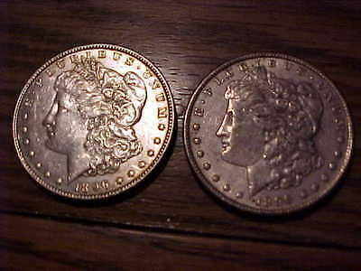 2 coins 1896 Morgan Silver Dollars both Excellent Details
