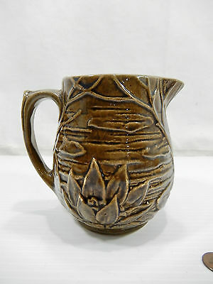 Antique - Vintage 1935 McCoy Brown Water Lily Pitcher. Marked 124