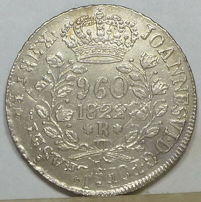 Brazil 960 Reis 1822-R Choice Almost Uncirculated