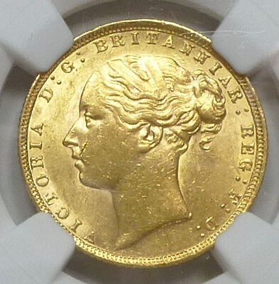 Great Britain Gold Sovereign 1872 MS 62 NGC