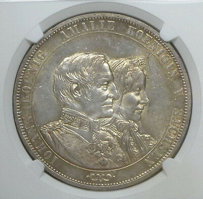 Germany Saxony 2 Taler 1872 MS 62 NGC