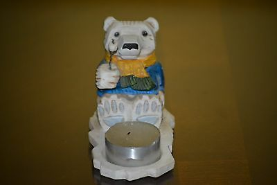 Frykman Polar Bear Ice Cubs Roasting Marshmellow Candle Holder Figurine DF2515