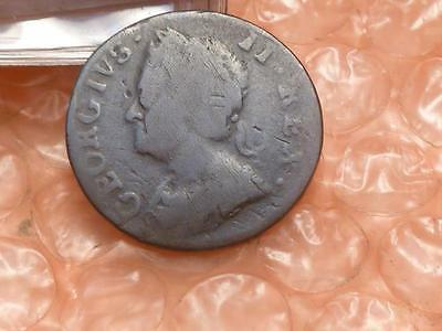 1754 King George II Farthing Colonial Coin #2