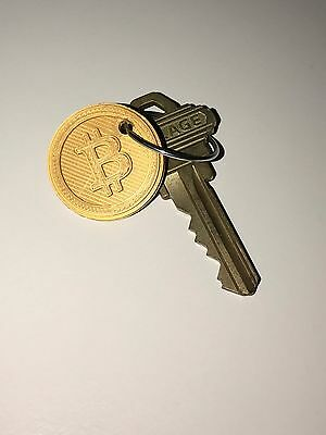 BITCOIN Keychain - 3D Printed - Gold Colored