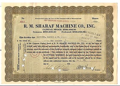 100sh 1922 OLD CANCELED STOCK CERTIFICATE R. M. SHARAF MACHINE CO, INC