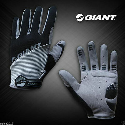 New GIANT Cycling Bicycle Bike Full Finger Antiskid Silicone Gel Gloves Black