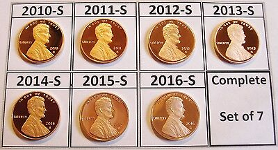 ALL 7 Proof Shield Cents DCams 2010-s 2011-s 2012-s 2013-s 2014-s 2015-s 2016-s