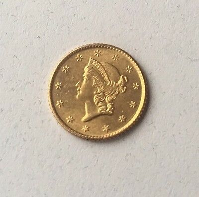 1849 Open Wreath Gold Dollar, Ungraded but Excellent Quality!