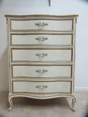 Henredon Vintage French Provincial Carved Painted Dresser High Chest of Drawers