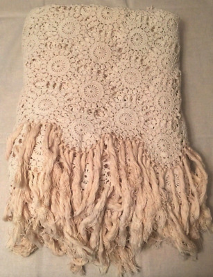 Vintage Crochet Bed Cover Coverlet Hand-Tied Fringe Off White