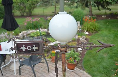 Antique Copper Lightning Rod With Glass Ball, Metal Arrow And Red Glass